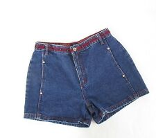 "Vintage BUM EQUIPMENT 90s Denim High Waist Shorts Logo Waistband 31.5"" Waist"