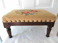 Vintage Petite French Country Louis Xvi Carved Walnut Foot Stool Ottoman Wood