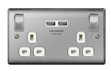 Pack of 5 Masterplug Brushed Stainless Steel USB Double Socket - NBS22UWX5