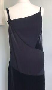 MINT VELVET Purple Velvet & Silk Slip Dress UK 12 Asymmetric 20s Flapper Party