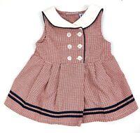 Petit Am 2 pc Sailor Dress /& Bloomes Short Slv Navy White Red 3 6 or 9 mon #1566