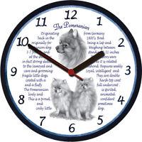 Pomeranian Large Wall Clock - Dog Breed Origins Animal Facts