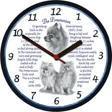 Pomeranian Large Wall Clock - Dog Breed Origins Animal Facts