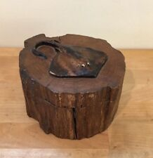 "Lovely Vintage Carved Wooden ""Stingray"" Jewelry Puzzle Trinket Box Wood Log"