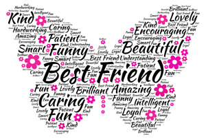 Word Art Friendship Butterfly Print Best Friend Gift Birthday Christmas