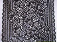 0,5 Meter Schwarz elastisch 21,5cm breit  elegante Spitze Borte  angebot selten