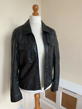 Mens MARC JACOBS Black Soft Lambs Leather Zip Up Bomber Jacket Size 52 Chest 40