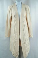 Coldwater Creek Size M Beige Long Sleeve Cardigan Knit Sweater Duster