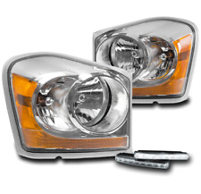 2004-2005 DODGE DURANGO CRYSTAL STYLE CHROME HEADLIGHTS LAMPS+BUMPER LED DRL KIT