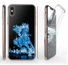 Apple IPHONE X Blue Flaming Horse Cell Phone Case Slim 360 Tri Max Flexible