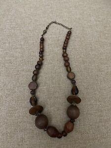 Vintage Chunky Wood Bead Necklace.  Boho.