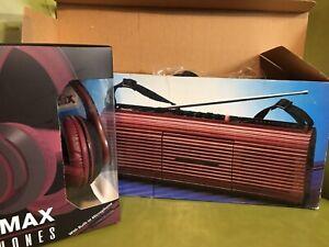SHARP! NEW NIB Rare RED WINE Randix AM/FM Radio Cassette Boombox Stranger Things