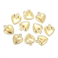 100x 304 Stainless Steel Heart Charms Dome Textured Edge Gold Mini Pendants 10mm