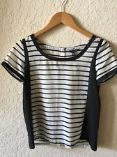 Womens American Eagle Black White Striped Short Sleeve Blouse XS NWT Button Back