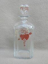 ANTIQUE BOHEMIAN MOSER DUTCH GLASS ENAMEL HEARTS TANTALUS DECANTER WEDDING Zoë