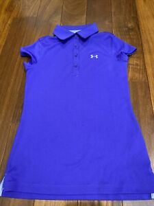 UNDER ARMOUR Girl's Heatgear Fitted Purple Polo golf Shirt Size YS Small EUC