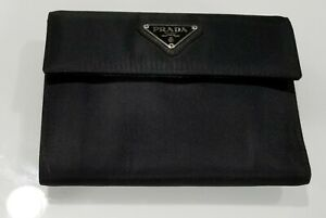 Authentic Prada Black Leather and Nylon Women's Trifold Wallet - Made in Italy