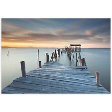 Rustic Beach Art Coastal Photography Decor Old Weathered Fishing Dock on Metal