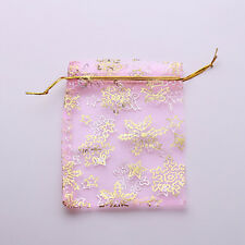 50x Snowflake Pattern Christmas Organza Pink Pouch Gift Bag Jewelry 9x12cm D