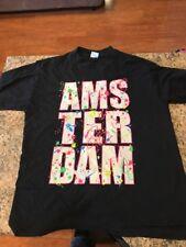 Vintage Original 1990s Black Neon Paint Splatter Amsterdam Men's Medium T-shirt