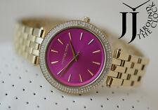 New Michael Kors Women's Darci Glitz Gold Tone Fuchsia Dial Steel Watch MK3444