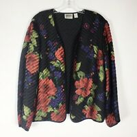 Chicos Size 2 L Large Black Red Floral Woven Silk Jacket Dressy Artsy