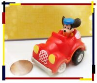 """Vintage Disney MICKEY MOUSE in Red Convertible Car 3.25"""" Cake Topper Toy"""