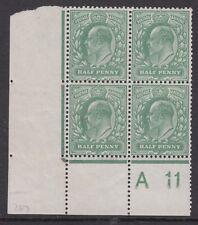SG 268 1/2d Dull Green M3 (2) A 11 Control Plate 64b ,Perf H2A , PO fresh U.Mint