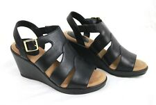 GIANI BERNINI Wedge Sandals 6.5 M Black Leather Upper Memory Foam WIRLA