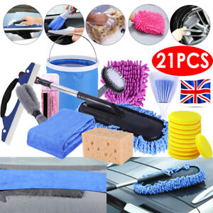 21 Pcs Professional Car Cleaning Washing Tool Kits Towel Brush Sponge Mop Glove