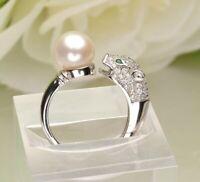 Leopard Ring 925 Sterling Silber Süßwasser Perle AAA Rhodiniert Zirkonia AAA