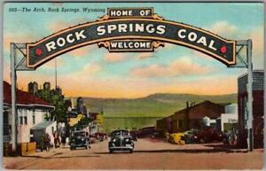"1949 Rock Springs, Wyoming Postcard ""Home of ROCK SPRINGS COAL"" Sign / Linen"