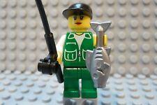 Lego Minifig FEMALE FISHERMAN Girl w/Black Hat, Green Legs, Fishing Pole & Fish