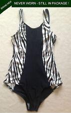 Dream Products Sz12 Swim Suit Black Animal Print White Striped Shelf Bra 1 Piece