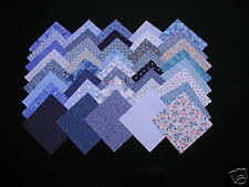 40 DIFFERENT 4-INCH CALICO FABRIC QUILT SQUARES - BLUE - 100% COTTON