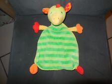 doudou plat dinosaure dragon vert jaune rouge BABYSUN (2 dispo)