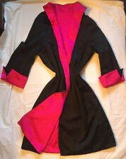 LADIES SILK EVENING A LINE REVERSIBLE COAT IN BLACK & SHOCKING PINK COLOURS