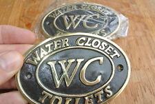 """2 toilet solid brass signs """" WC """" water closet screw door cast heavy 11.5 cm B"""