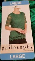 PHILOSOPHY Women's Short Sleeve Lace Top size Large Emerald MSRP $78 Brand New!!