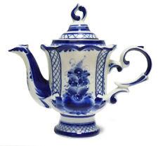 750 ml Gzhel Porcelain Coffee Pot. Teapot. Russian Porcelain Signed гжель
