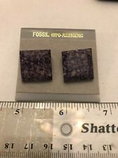 NEW Retro Fossil Speckled Purple Stone? Earring Pair- Free Shipping