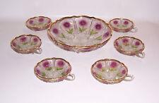 Traumhafte Preßglas Schale mit 6 kleinen Schälchen wohl Frankreich um 1900 !