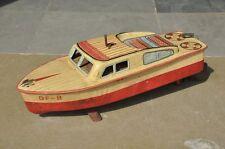 Vintage Df - 8 Mechanical Fine Litho Boat Tin Toy , Japan ?