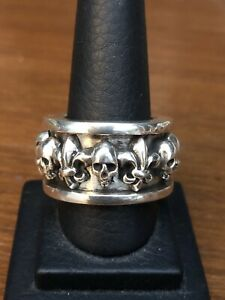 Lena K   BWL Chrome Skull Hearts Silver King Ring Baby Spinner Ring