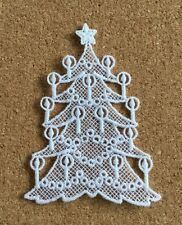 Christmas, Tree & Candles - sew-on lace motif/appliqué/patch/craft/card making