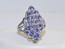 GORGEOUS! RARE 2.48cts! Tanzanite Oval Cut Cluster Ring in Solid S/Silver 925!!