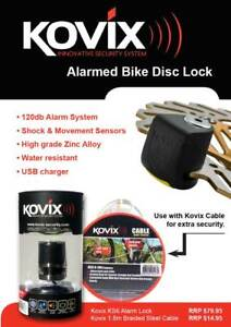 Kovix Alarmed Disc Lock & 1.8m Security Cable Combo - Bikes, Camping, BBQ, Esky