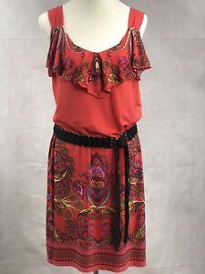 TIANA B. Coral Pink Paisley Ruffle Dress Medium Sleeveless With Leather Belt