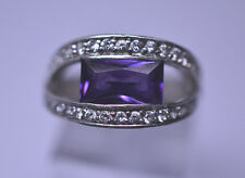STERLING SILVER CZ RING RECTANGULAR PURPLE GLASS STONE SUSPENDED SETTING SIZE 6