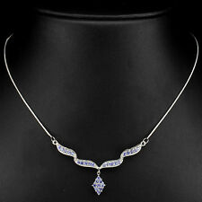 Sterling Silver 925 Natural Blue Violet Tanzante Elegant Necklace 18.5 Inches